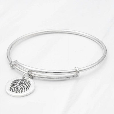 Expandable Fingerprint Bracelet • Actual Fingerprint Jewelry • Memorial Bracelet for Loss of Mother • Bereavement Jewelry