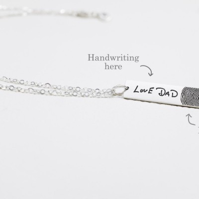 Fingerprint Jewelry • Drop Bar Fingerprint Necklace with Handwriting • Funeral Memorial Gift • Condolence Jewelry in Silver