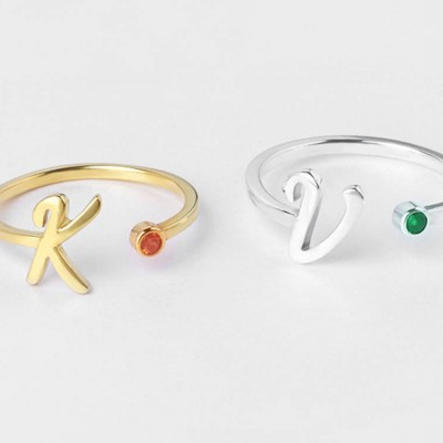 Gold Initial Ring • Personalized Initial Birthstone Ring • Dainty Initial Jewelry • Birthstone Ring with Custom Initials