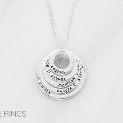 Grandmom necklace • Grandma necklace with names • Engraved circle necklace • Personalized mom necklace • Family necklace