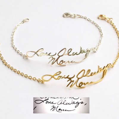 Handwriting Bracelet • Handwritten Bracelet • Signature Bracelet • Memorial Gift in Silver • Handwriting Jewelry