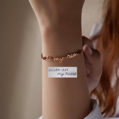 Handwriting Bracelet with Linked Words • Actual Handwriting Jewelry • Signature Bracelet • Handwritten Bracelet • Memorial Bracelet