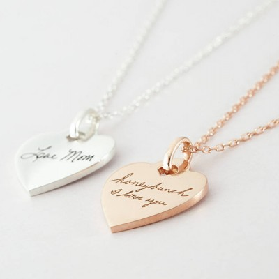Handwriting Necklace • Memorial Necklace • Handwritten Jewelry in Sterling silver • Memorial handwriting jewelry