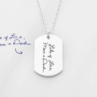 Handwriting necklace for men • Memorial signature jewelry • Signature necklace for men • Sympathy gift • Remembrance jewelry