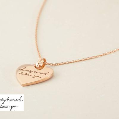 Handwritten Jewelry • Memorial Handwriting Jewelry • Handwritten Necklace • Engraved Handwriting Necklace