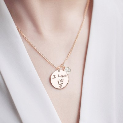 Memorial Gift with Engraved Handwriting • Handwritten Necklace with Button Charm• Signature Handwriting Necklace