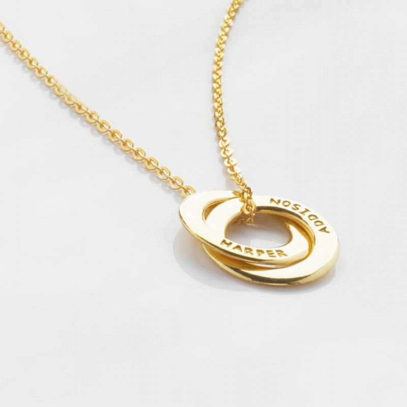 Family Necklace Double Small Initial Charm Sister Jewelry Best Friend Necklace Couple Jewelry Circle Layered Necklace Two Delicate Mothers Necklace