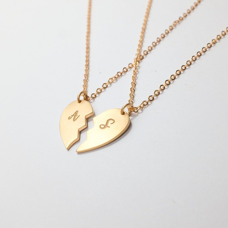 9e8b782428 Personalized Half Heart Necklace Set - Engraved Initial Pendant - Sisters Necklace  Set - Couple Gifts - Best Friend Gifts