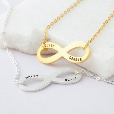 Personalized Infinity Necklace - Eternity Necklace in Sterling Silver - Gift Box Included - Bridesmaid Necklace