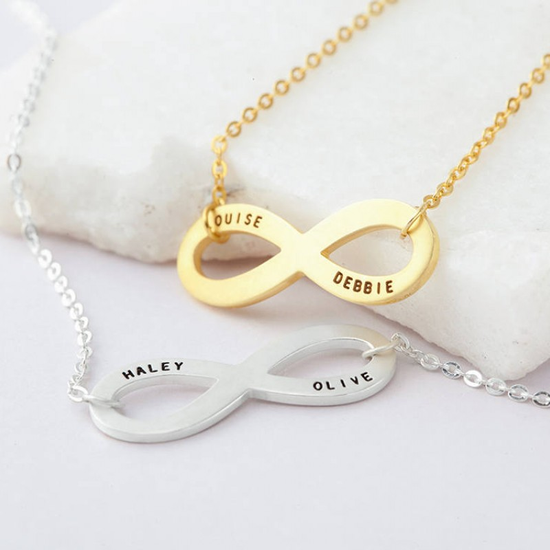 fb97f13eaccb3 Personalized Infinity Necklace - Eternity Necklace in Sterling Silver - Gift  Box Included - Bridesmaid Necklace