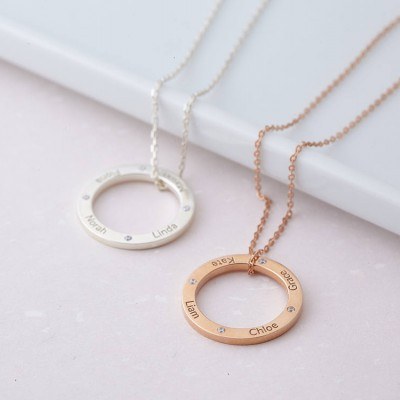 Personalized Karma Necklace with Kids' Name • Infinity Circle Necklace in Sterling Silver • Grandma Necklace • Mother Necklace