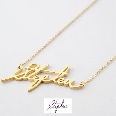 Personalized Signature Necklace  • Signature Jewelry in Sterling Silver • Custom Necklace with Actual Signature • Handwritten Necklace