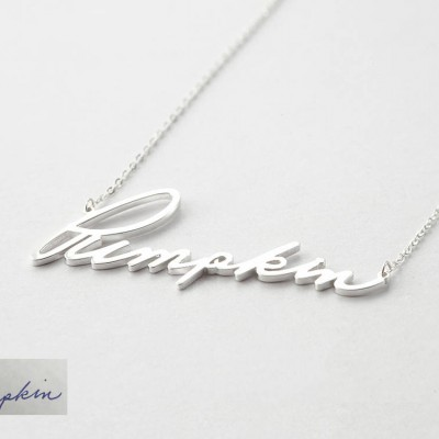 Premium signature necklace (Large) • Personal Signature Jewelry in Sterling Silver • Keepsake Necklace • Memorial Gift