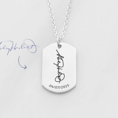 Signature necklace for men in sterling silver • Handwritten jewelry • Bereavement gift • Sympathy gift • Memorial jewelry