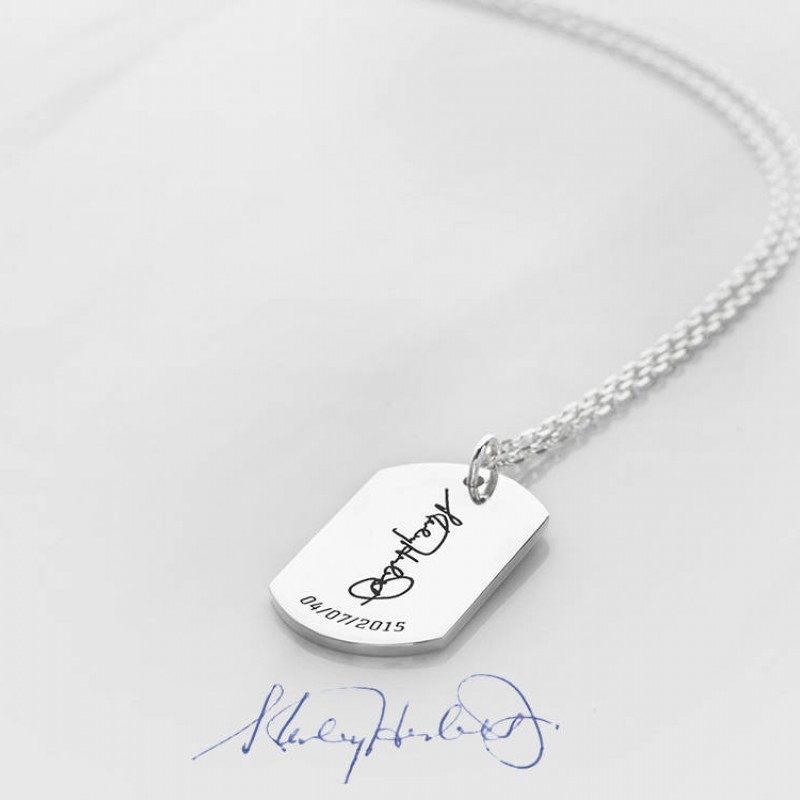 Signature necklace for men in sterling silver Handwritten jewelry