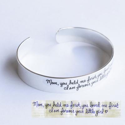 Silver Handwriting Jewelry • Premium Handwriting Bracelet (WIDE BAND)  • Handwriting Gifts • Silver Handwritten Bracelet