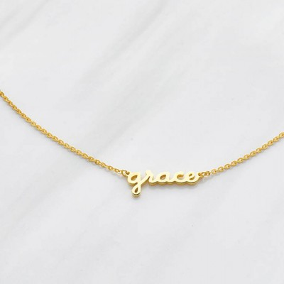 Small Name Necklace - Handwriting Name Necklace - Custom Name Pendant - Personalized Name Jewelry in Sterling Silver and Gold