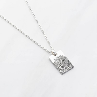 Square Fingerprint Necklace for Men • Sympathy Gift for Loss of Father • Remembrance Gift • Personalized Funeral Gift for Men