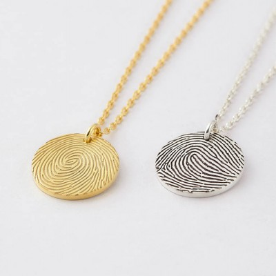 Tiny Fingerprint Necklace • Engraved Fingerprint Charm • Custom Fingerprint Pendant • Memorial Jewelry • Bereavement Gift