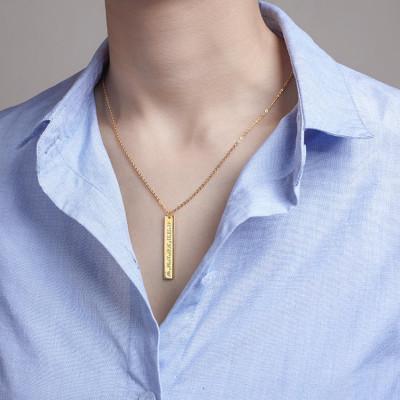 Vertical Bar Coordinates Necklace • Custom Coordinates Necklace • Latitude Longitude Jewelry • Tag Necklace • Coordinates Gift