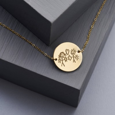 Actual Handwriting Disc Necklace - Personalised Necklace - Disc Necklace - Child's Drawing Necklace - Gold Plated NDH02