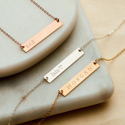 Reversible Personalised Bar Necklace - 18k Gold Plated, Rose Gold Plated, Sterling Silver, Personalised Necklace, Gift For Her - NB02-G/RG/S