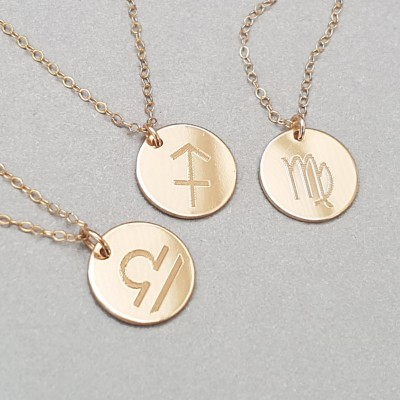 Reversible Personalised Zodiac Necklace - Secret Message Necklace - Charm Necklace - 18k Gold Plated or Sterling Silver -ND01-G/S