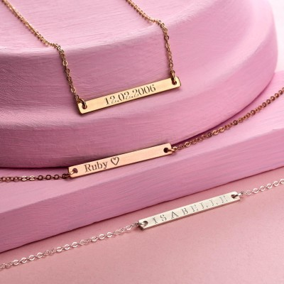 Skinny Personalised Bar Necklace - Reversible Bar Necklace - Name Necklace - Date Necklace - Personalised Necklace