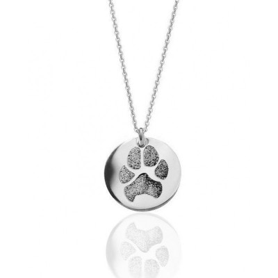 18ct Solid Gold Pawprint Pendant - Pawprint Necklace with Your Pet's Actual Paw Print