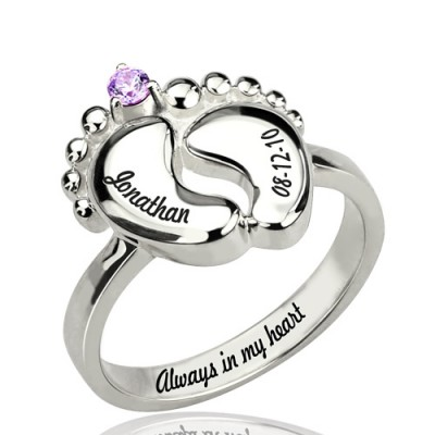 Engraved Baby Feet Personalised Ring with Birthstone Sterling Silver  - AMAZINGNECKLACE.COM
