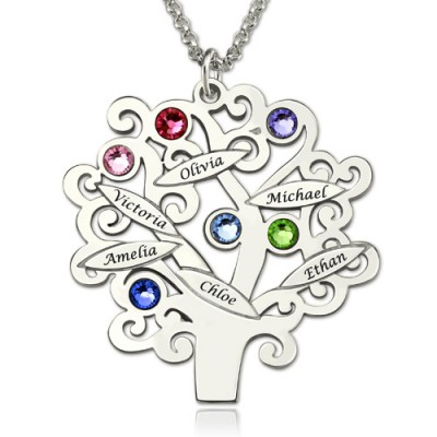 Engraved Family Tree Personalised Necklace with Birthstones Sterling Silver  - AMAZINGNECKLACE.COM