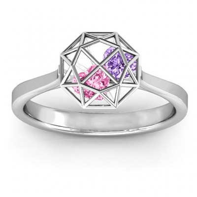 Personalised Diamond Cage Ring with Encased Heart Stones  - AMAZINGNECKLACE.COM