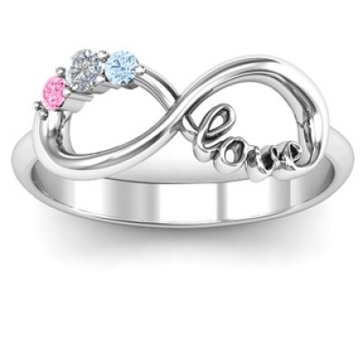 Customised Infinity Promise Personalised Ring With Birthstone Infinity Love Personalised Ring  - AMAZINGNECKLACE.COM