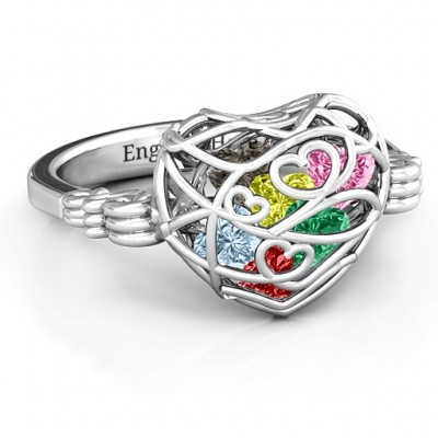 Encased in Love Caged Hearts Personalised Ring with Butterfly Wings Band - AMAZINGNECKLACE.COM