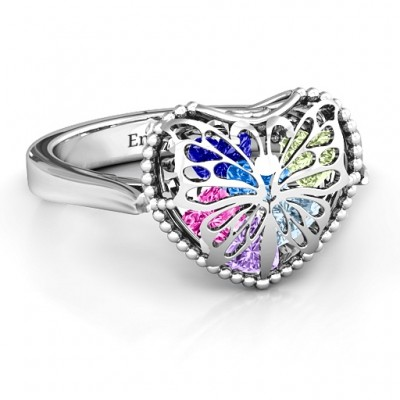 Butterfly Caged Hearts Personalised Ring with Ski Tip Band - AMAZINGNECKLACE.COM