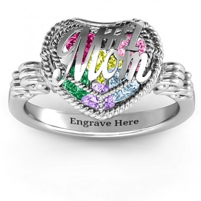 #1 Mom Caged Hearts Personalised Ring with Butterfly Wings Band - AMAZINGNECKLACE.COM