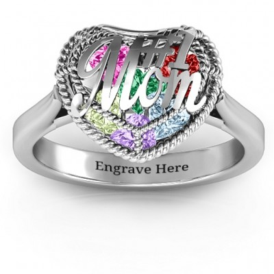 #1 Mom Caged Hearts Personalised Ring with Ski Tip Band - AMAZINGNECKLACE.COM