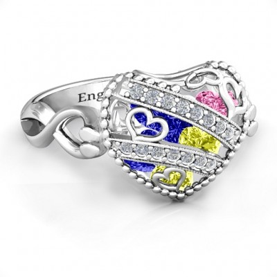 Sparkling Diamond Hearts Caged Hearts Personalised Ring with Infinity Band - AMAZINGNECKLACE.COM