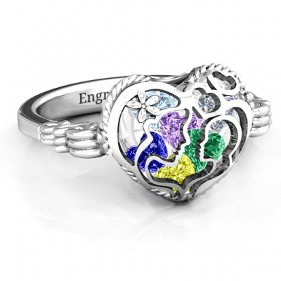 Mother and Child Caged Hearts Personalised Ring with Butterfly Wings Band - AMAZINGNECKLACE.COM