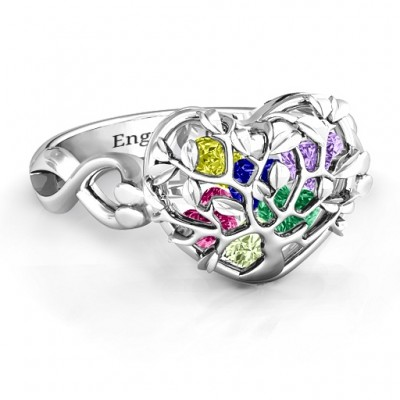 Family Tree Caged Hearts Personalised Ring with Infinity Band - AMAZINGNECKLACE.COM