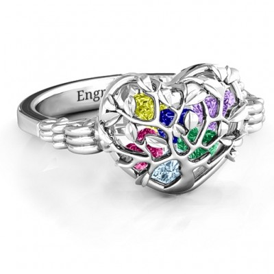 Family Tree Caged Hearts Personalised Ring with Butterfly Wings Band - AMAZINGNECKLACE.COM