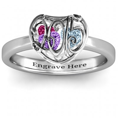 2015 Petite Caged Hearts Personalised Ring with Classic with Engravings Band - AMAZINGNECKLACE.COM