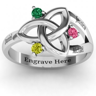 Siobhán Celtic Knot Personalised Ring - AMAZINGNECKLACE.COM