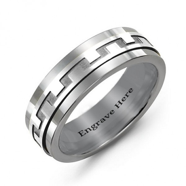 Sterling Silver Mens Detailed Modern Tungsten Band Personalised Ring - AMAZINGNECKLACE.COM
