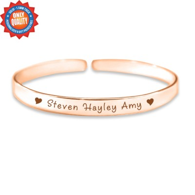 Personalised 8mm Endless Bangle - 18ct Rose Gold - AMAZINGNECKLACE.COM