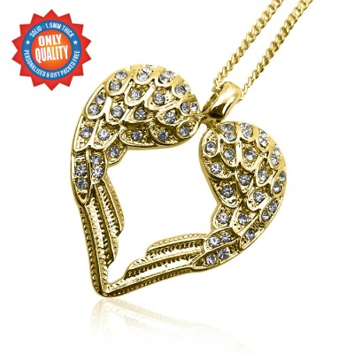Personalised Angels Heart - 18ct Gold Plated - AMAZINGNECKLACE.COM