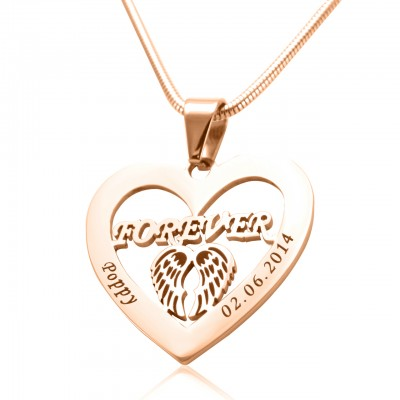 Personalised Angel in My Heart Necklace - 18ct Rose Gold Plated - AMAZINGNECKLACE.COM