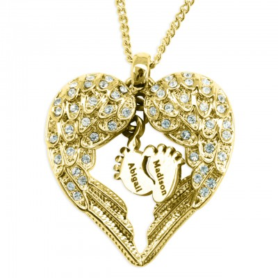 Personalised Angels Heart Necklace with Feet Insert - GOLD - AMAZINGNECKLACE.COM