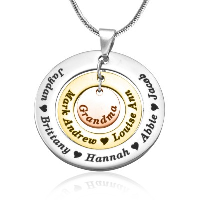 Personalised Circles of Love Necklace - Three Tone - Rose Gold Silver - AMAZINGNECKLACE.COM