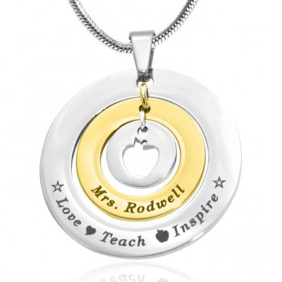Personalised Circles of Love Necklace Teacher - TWO TONE - Gold  Silver - AMAZINGNECKLACE.COM